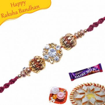 Buy Natural Rudraksh , Gold Glass Bead and American Diamond Beads Online on Rakshabandhan with India, worldwide delivery options