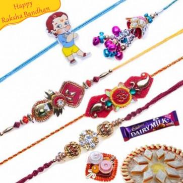 Buy American Diamonds, Om , lumba Five Pieces Rakhi Set Online on Rakshabandhan with India, worldwide delivery options