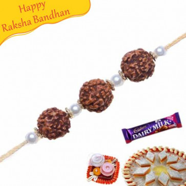 Buy Three Natural Rudraksh with Pearl Rakhi Online on Rakshabandhan with India, worldwide delivery options