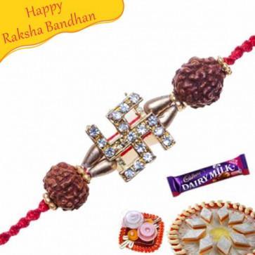 Buy Swastik Rudraksh American Diamond Rakhi Online on Rakshabandhan with India, worldwide delivery options