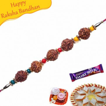 Buy Five Natural Rudraksh with Pearl Beads Rakhi Online on Rakshabandhan with India, worldwide delivery options