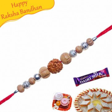 Buy Single Rudraksh Sandalwood Beads Rakhi Online on Rakshabandhan with India, worldwide delivery options