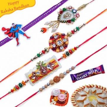 Buy Kids and Traditional Lumba Five Pieces Rakhi Set Online on Rakshabandhan with India, worldwide delivery options