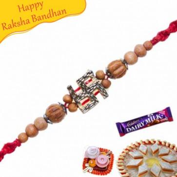 Buy Swastik With Sandlewood Rakhi Online on Rakshabandhan with India, worldwide delivery options