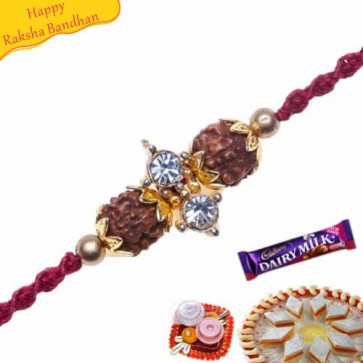 Buy American Diamond ,Rudraksh wooden beads Rakhi Online on Rakshabandhan with India, worldwide delivery options