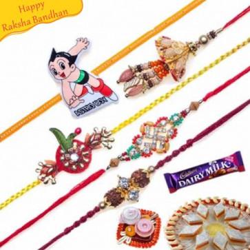 Buy Rudraksh, Jewelled, Kundan Work Five Pieces Rakhi Set Online on Rakshabandhan with India, worldwide delivery options