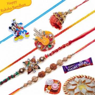 Buy Auspicious Rakhi, Kids Rakhi Five Pieces Set Online on Rakshabandhan with India, worldwide delivery options