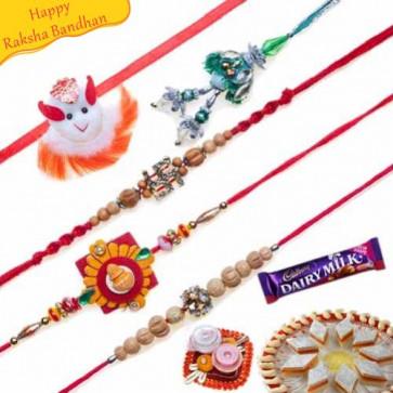 Buy Sandalwood and Diamond Five Pieces Rakhi Set Online on Rakshabandhan with India, worldwide delivery options