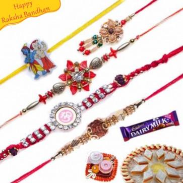 Buy Diamond, Bracelet Rudraksh Chotabheem Five Pieces Rakhi Online on Rakshabandhan with India, worldwide delivery options