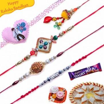 Buy Diamond, Rudraksh, Ben10 Heart Five Pieces Rakhi Online on Rakshabandhan with India, worldwide delivery options