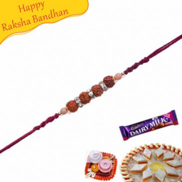 Buy Kundan and Rudraksh Beads Rakhi with American Diamonds hoops Online on Rakshabandhan with India, worldwide delivery options