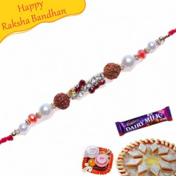 Buy White and Red American Diamonds Rudraksh metal beads Rakhi Online on Rakshabandhan with India, worldwide delivery options