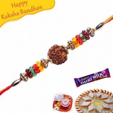 Buy Multicolour Beads Rudraksh Rakhi Online on Rakshabandhan with India, worldwide delivery options
