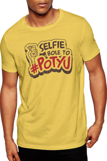 Selfie Bole To Potyu - Wrong side Raju Theme Cotton Tshirt From Deshidukan Buy online yellow