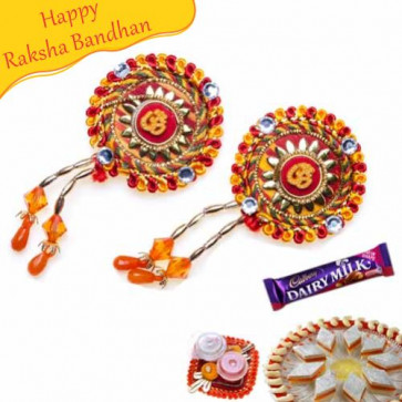 Buy Om With Golden Beads Shagun Rakhi Online on Rakshabandhan with India, worldwide delivery options