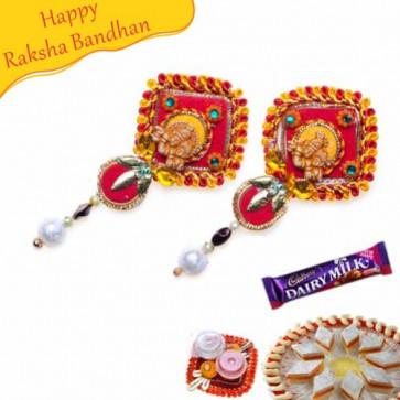 Buy Radhekrishna With Pearls Shagun Rakhi Online on Rakshabandhan with India, worldwide delivery options