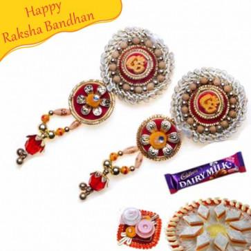 Buy Om With Wooden Beads Shagun Rakhi Online on Rakshabandhan with India, worldwide delivery options