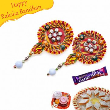 Buy Thread And Kundan Work Shagun Rakhi Online on Rakshabandhan with India, worldwide delivery options