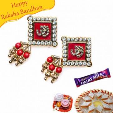 Buy Om With Diamond Studed On Border Shagun Rakhi Online on Rakshabandhan with India, worldwide delivery options