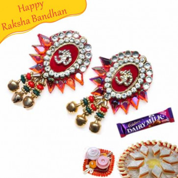 Buy Om With Kundan And Crystal Shagun Rakhi Online on Rakshabandhan with India, worldwide delivery options