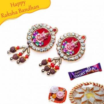 Buy Ganesha With Diamond And Rudraksh Shagun Rakhi Online on Rakshabandhan with India, worldwide delivery options
