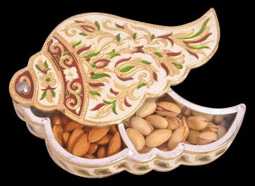 Shankh Shaped Minakari Decorative Dryfruit cum Kumukm Box