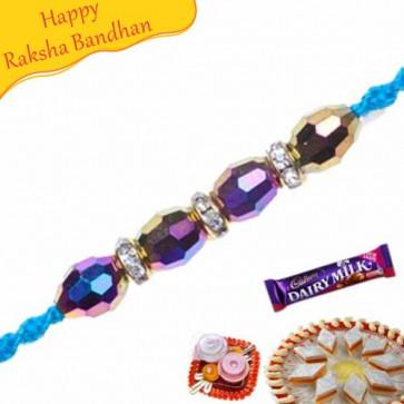 Buy Blue Crystal Diamond Pearl Rakhi Online on Rakshabandhan with India, worldwide delivery options