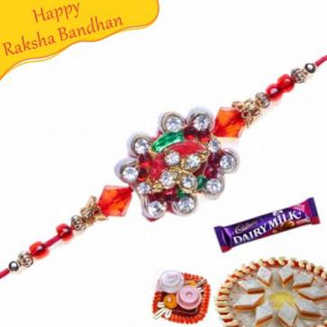 Buy Auspicious American Diamond Rakhi Online on Rakshabandhan with India, worldwide delivery options
