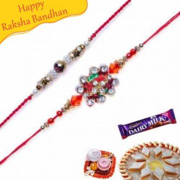 Buy Daimond Rakhi and Auspicious Rakhi Pair Online on Rakshabandhan with India, worldwide delivery options