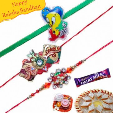 Buy Diamond And Kids Rakhis Trio Online on Rakshabandhan with India, worldwide delivery options