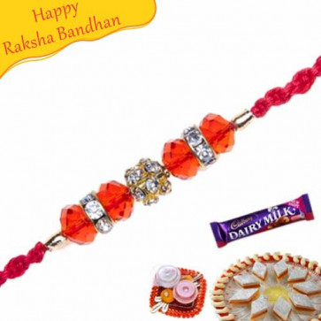 Buy Auspicious Wooden Beads Diamond Rakhi Online on Rakshabandhan with India, worldwide delivery options