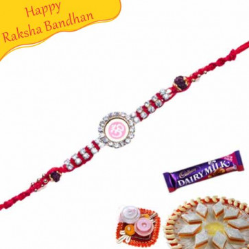 Buy Om Diamond Beads Rakhi Online on Rakshabandhan with India, worldwide delivery options