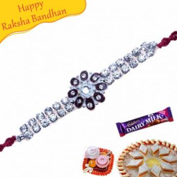 Buy Multicolour American Diamond Bracelet Rakhi Online on Rakshabandhan with India, worldwide delivery options