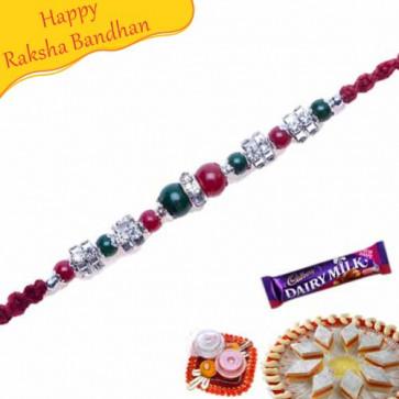 Buy Silver Crystal Jewelled Rakhi Online on Rakshabandhan with India, worldwide delivery options