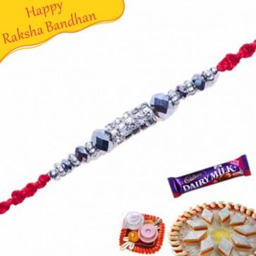 Buy White Beads, Diamond And Crystal Mauli Rakhi Online on Rakshabandhan with India, worldwide delivery options