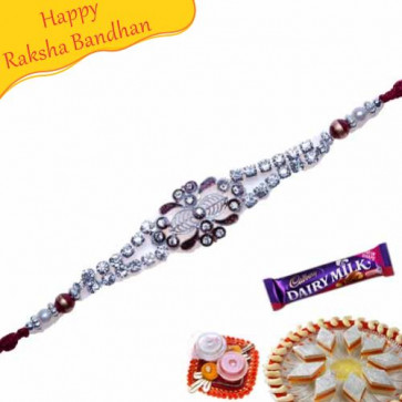 Buy American Diamond Silver Balls Bracelet Rakhi Online on Rakshabandhan with India, worldwide delivery options