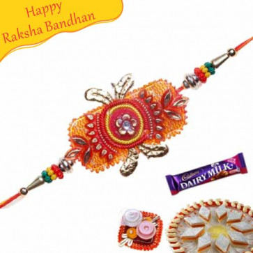 Buy Red Mauli And Zardosi Rakhi Online on Rakshabandhan with India, worldwide delivery options
