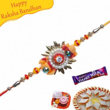 Buy Colour Full Beads Pearl Thread Rakhi Online on Rakshabandhan with India, worldwide delivery options