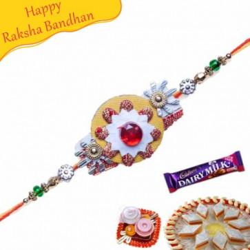 Buy Red Stone Zardoshi Rakhi Online on Rakshabandhan with India, worldwide delivery options