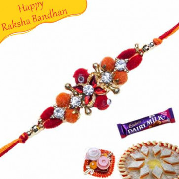 Buy VELVET BALL ZARDOSHI WITH DIAMOND RAKHI Online on Rakshabandhan with India, worldwide delivery options