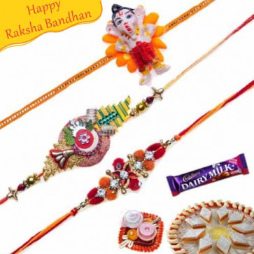 Buy Velvet and Ganesha Kids Rakhis Trio Online on Rakshabandhan with India, worldwide delivery options