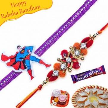 Buy velvet Zardosi Rakhi and kids rakhi pair Online on Rakshabandhan with India, worldwide delivery options