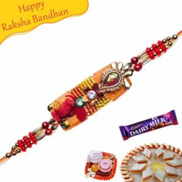 Buy MULTICOLOUR BEADS, CRYSTAL ZARDOSHI RAKHI Online on Rakshabandhan with India, worldwide delivery options