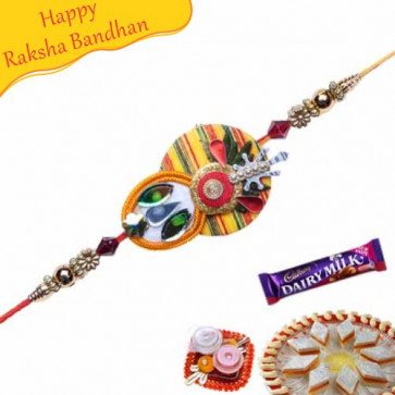 Buy Canvas Work Crystal Mauli Rakhi Online on Rakshabandhan with India, worldwide delivery options