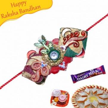 Buy KUNDAN AND ZARDOSHI WORK RAKHI Online on Rakshabandhan with India, worldwide delivery options