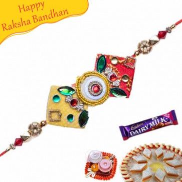 Buy Red Crystal Zardoshi Work rakhi Online on Rakshabandhan with India, worldwide delivery options