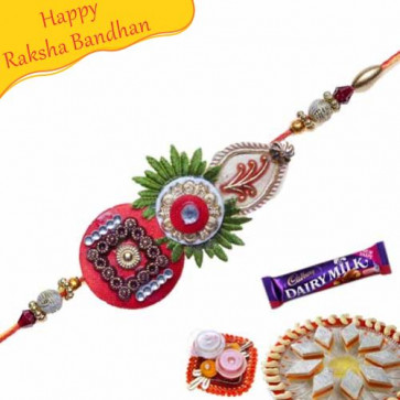 Buy KUNDAN RAKHI WITH ZARDOSHI WORK Online on Rakshabandhan with India, worldwide delivery options