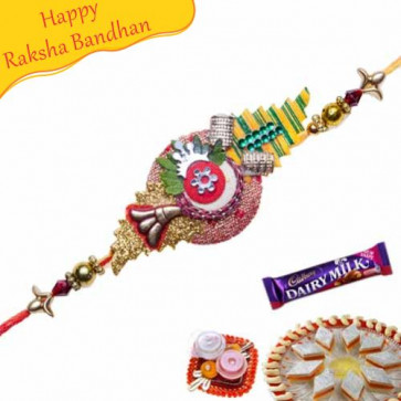 Buy Kundan Multicolour Beaads Mauli Rakhi Online on Rakshabandhan with India, worldwide delivery options