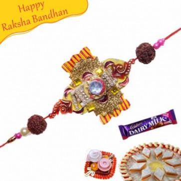 Buy Rudraksh Pearl Rakhi With American Diamonds hoops Online on Rakshabandhan with India, worldwide delivery options