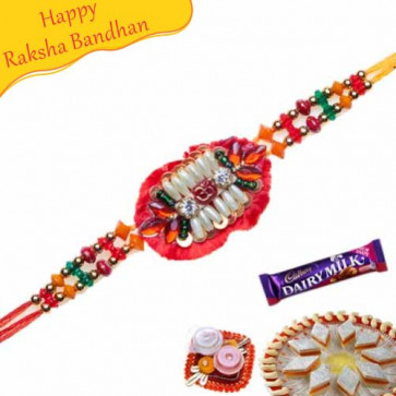 Buy Colourfull pearl with kundan Zardoshi Rakhi Online on Rakshabandhan with India, worldwide delivery options